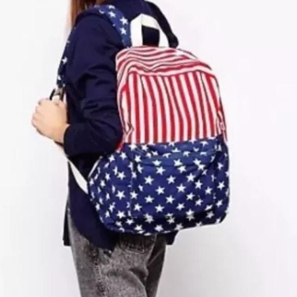 NEW RED,WHITE+BLUE AMERICAN FLAG STARS+STRIPES BACKPACK,SHOULDER BAG